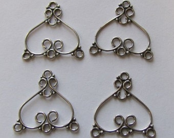 Antiqued Sterling Silver Or Not,  Chandelier Earring Findings Pair, 24mm by 24mm, 3 Loops, Pendant, Or Bracelet 3 Strand, Britz Beads Supply