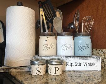 mason jar utensil hold with salt and pepper shakers, paper towel holder, kitchen set, utensil holder, rod iron, rustic decor, mason