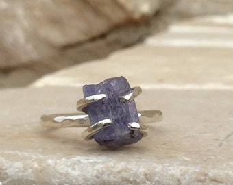 Raw Stone Silver Ring, US 8 Raw Iolite Silver Prong Ring, Gemstone Ring, Raw Iolite Claw Ring, Raw Stone Ring, Gift for Her