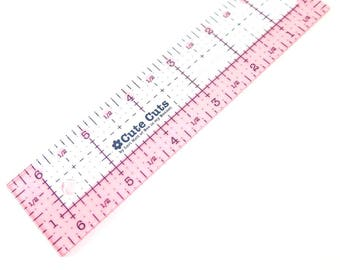 Cute Cut Rectangle Ruler | Small Acrylic Quilting Ruler (1.5 in x 6.5 in) - Cute Cut Ruler by Lori Holt for Riley Blake