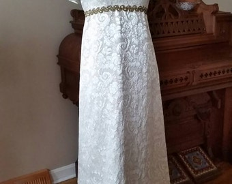 Beautiful 1960's Ivory and Gold Brocade Gown w/ AB Rhinestone & Gold Roping Trim