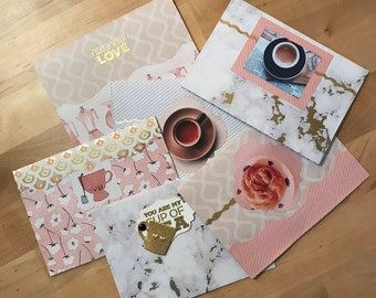 Nothing Like Coffee, SET of SIX, handmade greeting card set for all occasions, tea, Sunday mornings, metallic accents & marble