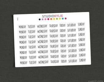 Days of The Week Stickers  - Repositionable Matte Vinyl