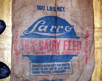 Vintage Burlap Dairy Feed Bag