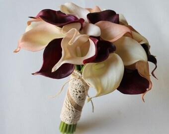 Wedding Bouquet Cranberry Calla Lily Bouquet Cranberry Bouquet  Real Touch  Calla Lily Bridal Bouquet Wedding  Bouquets,  Weddings