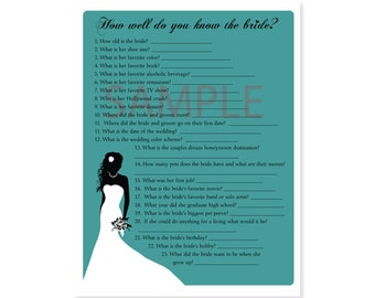 3 Teal Blue Bridal Shower Printable Games Word Scramble, Whats in your purse