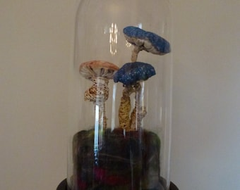 OOAK Machine Embroidered Textile Toadstools