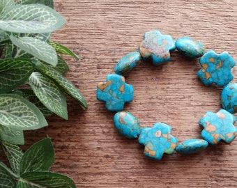 Mosaic Turquoise Stretch Bracelet, Southwest Bracelet, Boho bracelet,  Native American style bracelet.