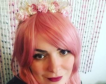 Clear quartz rose headband