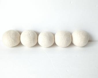 Wool Dryer Balls Felted Natural Wool Eco-Friendly Undyed Sheep / Use Essential Oils / Neighbor Hostess Welcome Gift / Colorway Cream