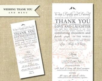Wedding Menu and Thank You