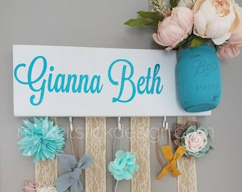 Headband Bow Holder, Custom Name Board, Baby Girl Nursery Decor, Baby Shower Gift, Bow Organizer, Headband Organizer, White Painted Board