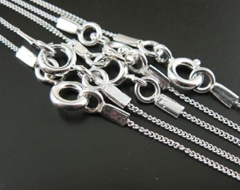 Sterling Silver Necklace - 925 Sterling silver Chain - Tiny Curb Chain - Finished Necklace for Pendant - 20 inches (1 pc) SKU:601001-20