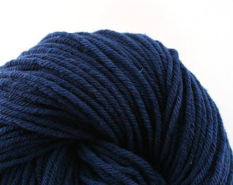 Hand Dyed Aran weight mini Empire Rambouillet Wool 213 yds 4oz Sapphire