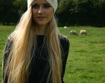 Natural wool ear-warmer headband