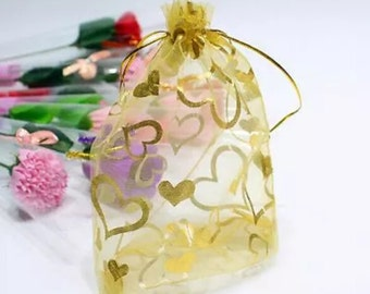 """25 Gold organza bags with gold hearts  2.75""""x3.5""""   M5"""