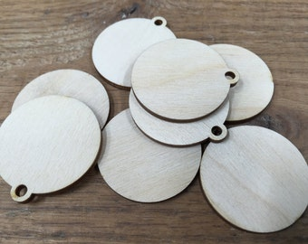 Crafting Supplies - 25 Laser cut wooden round shapes with hole