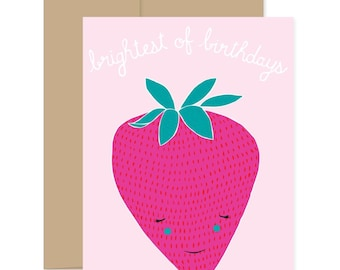 Strawberry Happy Birthday Card, Strawberry Celebration Card, Fruit Birthday Card, Strawberry Birthday, Kid's Birthday Card, Just For Fun