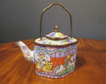 Cloisonné and brass miniature teapot