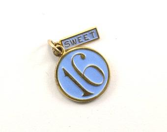 Vintage Sweet Sixteen 16 Enamel Pendant 925 Sterling Silver PD 328