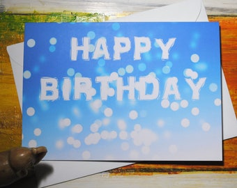 Happy Birthday Greeting Card, Bright Lights, Disco Lights, Blank Card, Cards for Him, Cards for Her, Birthday Card