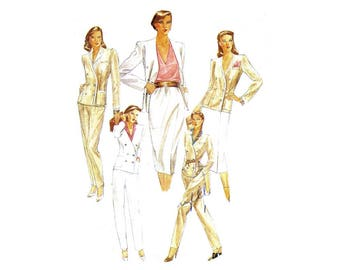 Misses Double Breasted Jacket Skirt Pants McCalls 6999 Vintage Sewing Pattern Size 10 Bust 32 1/2 UNCUT