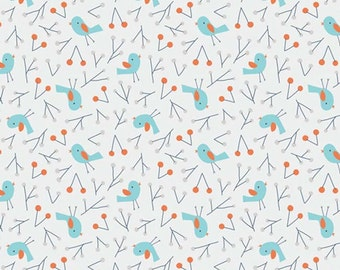 Sweet Autumn Day Blue Birds Organic Cotton Fabric from Cloud 9 Fabrics