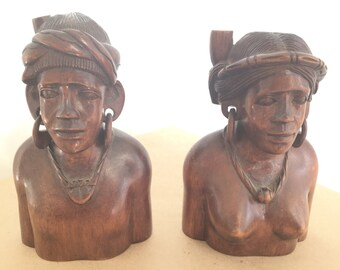 Pair Small Carved Wood Figurine Sculptures