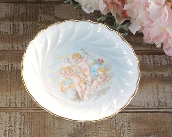 Vintage French Cottage Style Limoges Compote Petit Fours Cake Stand Soap Dish, Pedestal Candy Dish