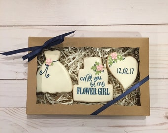 Will you be my Flower Girl, Flower Girl Proposal Box, Flower Girl Gift, Cookie Gifts