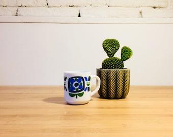 Vintage Tasse mug - Mobil Arcopal bleu/vert