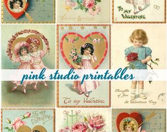 Girls and Roses,  Printable Valentine Collage Sheet (digital download, printable)