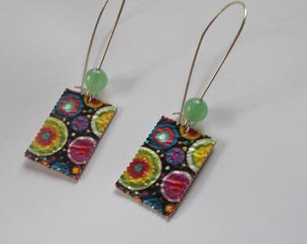 jade bead top... rectangle earrings in color...