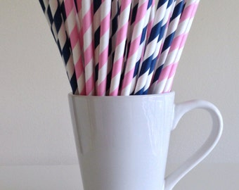 Pink and Blue Paper Straws Navy Blue and Light Pink Striped Gender Reveal Party Supplies Party Decor Bar Cart Cake Pop Sticks Graduation