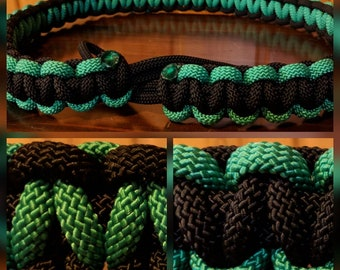 "Black & Green large standard rope (62"" w/ 6"" black loops)"