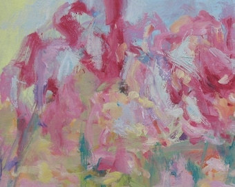 Ariettes Oubliees GICLEE ART PRINT 8 x 11 abstract magnolia tree pink aqua