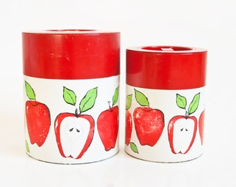 Vintage Red Apple Canister Set, 1960s 70s Printed Tin Kitchen Containers