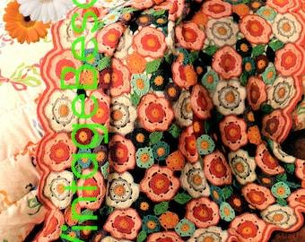EASY Afghan Crochet PATTERN • Vintage 1970s FLOWER Crochet Pattern • Flower Garden Crochet Bohomian Home Decor Instant Download Pdf Pattern