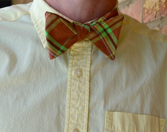 Brown & Green Plaid Adjustable Bow Tie