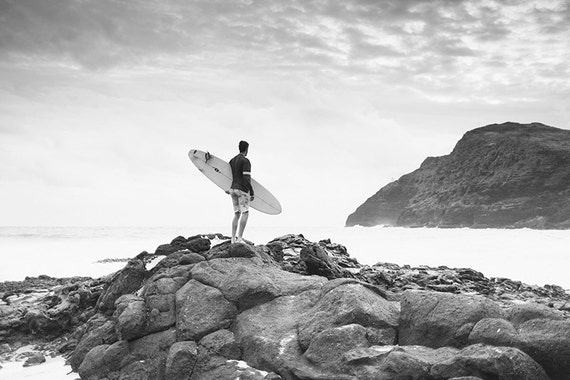 Black and white surf art surf decor surfboard print surfing