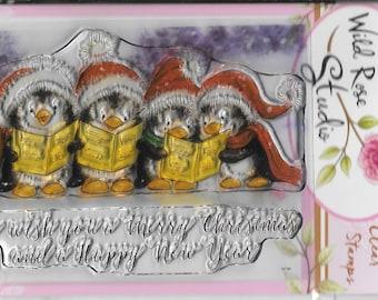 Wild Rose Studio Clear Stamp -- NEW -- Singing Penguins -- (#2460)