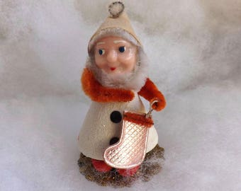 Vintage Christmas elf white cardboard pipe cleaner putz elf chenille dwarf plastic face foil stocking made in Japan
