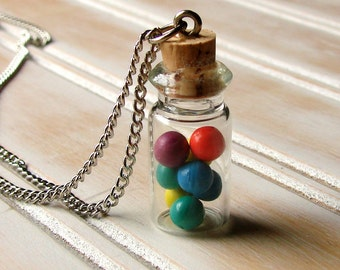 Miniature Faux Food Candy Necklace - Glass Jar of Jawbreaker Gumballs
