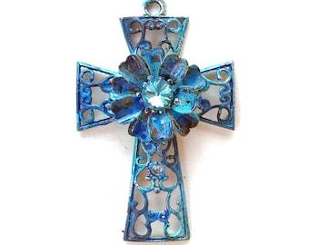 Rustic Cross Pendant, Blue Patina Cross, Verdigris Cross, Handmade Cross Pendant, Ancient Alchemy, Dry Gulch, 1 Pendant, Gloriana #2119