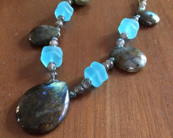 Luminous labradorite teardrop necklace