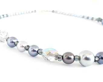 Silver grey pearl Necklace, Shades of grey necklace, grey pearls jewellery, gody for Her, from TWOhearts, TWO hearts
