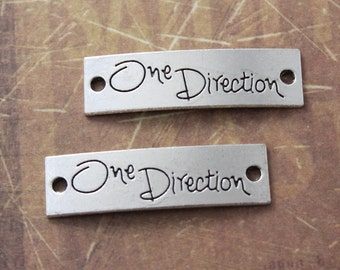 10 One Direction Connector Antiqued Silver Tone 10 x 40 mm