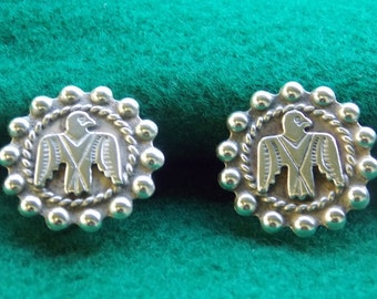 Vintage Sterling Silver Screw Back Eagle Earrings