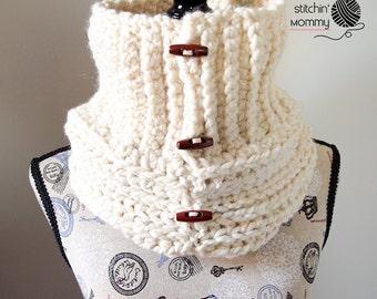 PDF Crochet Pattern - Starlight Button Cowl