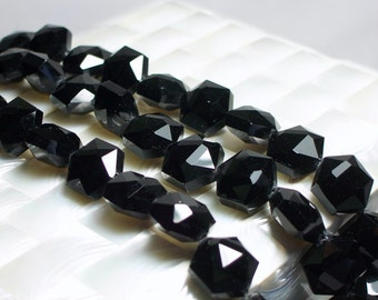 16mm Hexagon Shape Glossy Jet Black GOTH 15pc Strand Chinese Crystal Glass Beads Jewelry Jewellery Craft Supplies